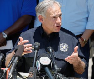 Texas Gov. Greg Abbott speaks during a press conference about the shooting incident at Santa Fe High School May 18, 2018 in Santa Fe, Texas. (Credit: Bob Levey/Getty Images)