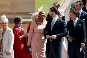 Serena Williams and her husband Alexis Ohanian arrive for the wedding ceremony of Britain's Prince Harry, Duke of Sussex and US actress Meghan Markle at St George's Chapel, Windsor Castle, in Windsor, on May 19, 2018. (Credit: ODD ANDERSEN/AFP/Getty Images)