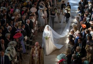 Meghan Markle walks down the aisle at the start of her wedding to Prince Harry in St George's Chapel at Windsor Castle on May 19, 2018 in Windsor, England. (Credit: Danny Lawson - WPA Pool/Getty Images)