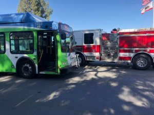 A pedestrian was in critical condition after being struck by an Omnibus in Fontana on May 7, 2018. (Credit: Fontana Police Department)