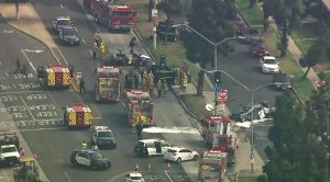 Fire and police officials respond to a fiery double fatal crash in Inglewood on May 10, 2018. (Credit: KTLA)