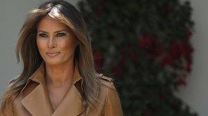 U.S. first lady Melania Trump arrives in the Rose Garden to speak at the White House May 7, 2018, in Washington, D.C. (Credit: Win McNamee/Getty Images)