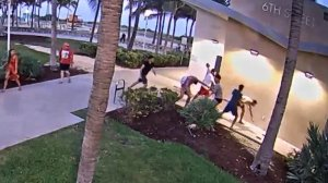 This still from surveillance video shows the April 8, 2018, attack on two men by four other men at Miami's annual gay pride parade. Hate crimes charges were later filed against the four alleged attackers.(Credit: Miami Beach Police Department via CNN)