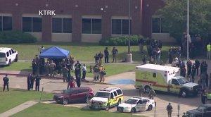 Authorities respond to a school shooting at Santa Fe High School in Texas on May 18, 2018. (Credit: KTRK via CNN)
