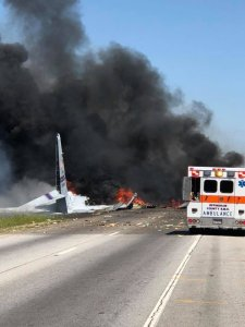 A military plane crashed in Savanah, Georgia on May 2, 2018. (Courtesy of Savannah Professional Firefighters Association via Twitter)