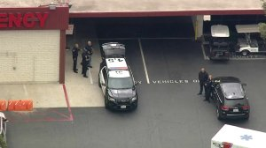 Officers responded to a call of a possibly armed man at Orange County Global Medical Center in Santa Ana on May 15, 2018. (Credit: KTLA)