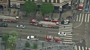 Police and firefighters respond to a Metro Red Line Station in downtown L.A. after a person was hit by a train on May 22, 2018. (Credit: KTLA)