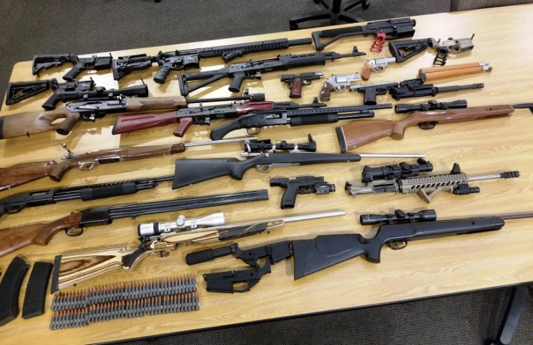 Weapons seized during a routine probation check are shown in a photo released by the Glendale Police Department on May 30, 2018.