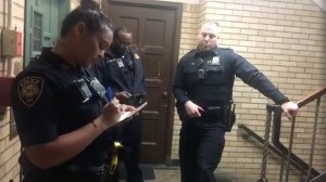 Yale University police respond to a call about a student sleeping in a dorm's common room on May 8, 2018. (Credit: Lolade Siyonbola via CNN)