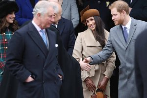 Meghan Markle attends a Christmas Day Service on Dec. 25, 2017, with Prince Harry and members of the royal family, including Prince Charles, at right. (Credit: Getty Images via CNN)