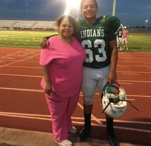 Chris Stone, a victim in the Santa Fe High School shooting, appears in his football uniform. (Credit: Mercedez Stone via CNN)