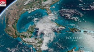 A CNN image released on May 26, 2018, shows where Subtropical Storm Alberto is likely to make landfall on Monday between New Orleans and Destin, Florida, before moving into Mississippi and Alabama by Tuesday.