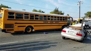 A vehicle crashed into a school bus in San Bernardino on May 18, 2018. (Credit: Hightail)