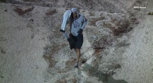 A suspect is seen walking in a drainage channel in Valley Village in the early morning hours of May 5, 2018. (Credit: RMG News)