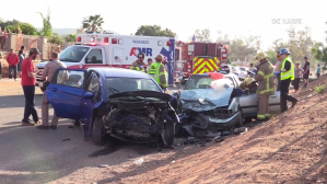 Paramedics respond to the scene where two young boys were killed after the car they were in was hit by another vehicle involved in a street race in Mead Valley on May 15, 2018. (Credit: OC Hawk)