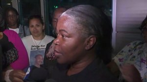 Sheila Brim-Hines speaks to reporters after being released from jail on bail on May 8, 2018. (Credit: KTLA)