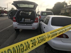 A vehicle is seen in Torrance on May 7, 2018 following a pursuit. (Credit: Los Angeles County Sheriff's Department)