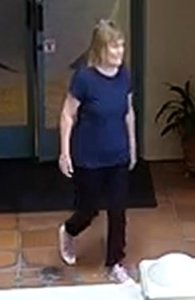Investigators released this surveillance photo of Susan Leeds at a Rolling Hills Estates mall on the day she was killed a week after her fatal stabbing in the mall's parking garage, May 10, 2018. (Credit: Los Angeles County Sheriff's Department)