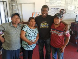 After $700 was stolen from them in a gas station attack, a Lancaster family meets with the man who reimbursed the money on May 30, 2018, in a photo released by the Los Angeles County Sheriff's Department.