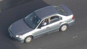 Authorities were in pursuit of a vehicle in the Norwalk area on May 17, 2018. (Credit: KTLA)