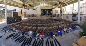 The Los Angeles County Sheriff's Department on June 18, 2018 provided this image of firearms they said were seized from a convicted felon's home in Agua Dulce.