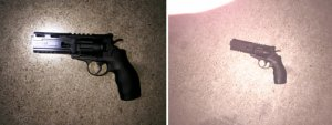 A BB gun is pictured in photos provided by the Inglewood Police Department on June 23, 2018.