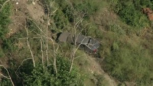 A car is seen surrounded by shrubbery at the bottom of a cliff in Santa Clarita on June 26, 2018. (Credit: KTLA)