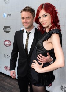 """TV personality Chris Hardwick, left, and actress Chloe Dykstra attend Spike TV's """"Guys Choice 2014"""" at Sony Pictures Studios on June 7, 2014, in Culver City, California. (Credit: Frazer Harrison/Getty Images for Spike TV)"""