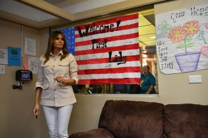 U.S. first lady Melania Trump visits the Luthern Social Services of the South's Upbring New Hope Children Center in McAllen, Texas, on June 21, 2018.(Credit: Mandel Ngan/AFP/Getty Images)