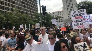 Thousands gather in downtown Los Angeles on June 30, 2018, to protest the Trump administration's immigration policies. (Credit: Luis Sinco/Los Angeles Times)