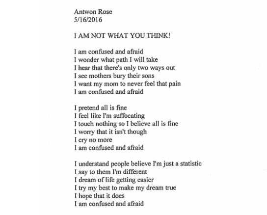 The Woodland Hills School District in Pennsylvania released this poem written by student Antwon Rose, who was fatally shot by police outside Pittsburgh on June 20, 2018.