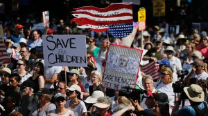 Demonstrators march against the separation of immigrant families on June 30, 2018, in New York. (Credit: EDUARDO MUNOZ ALVAREZ/AFP/Getty Images)