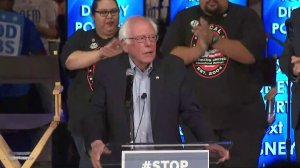 Sen. Bernie Sanders, D-Vermont, speaks to Disneyland resort workers in Anaheim on June 2, 2018. (Credit: KTLA)
