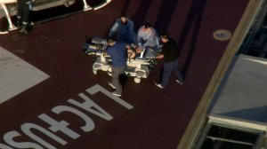 A man shot by Whittier police is carried on a stretcher after being airlifted to a hospital on June 11, 2018. (Credit: KTLA)