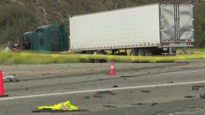 A tractor trailer is seen following a fatal collision on Highway 126 in Fillmore on May 31, 2018.