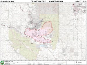 An InciWeb map shows the boundaries of the Cranston Fire as of July 27, 2018.