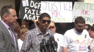 Victor Avalos, center, speaks during a news conference about his son Anthony Avalos' death on July 17, 2018. He is flanked by the family's attorney, Brian Claypool, and David and Maria Barron. (Credit: KTLA)