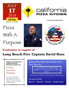 The Fallen Heroes provided this flier on their website for California Pizza Kitchen's fundraiser in honor of Capt. Dave Rosa on July 17, 2018.