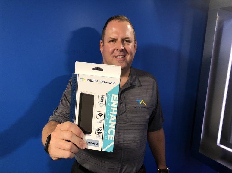 tech armor co founder joe jaconi holding enhance screen protector in box