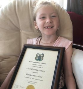 Lexie Comeau-Drisdelle helped save her baby brother from drowning, earning her hero status in her hometown of Halifax, Nova Scotia. (Credit: Kelly Jackson via CNN)