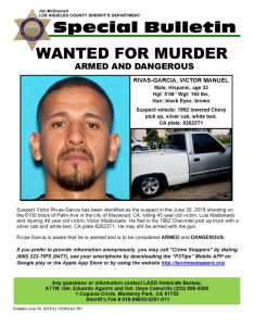 Victor Manuel Rivas is seen in a bulletin issued by the L.A. County Sheriff's Department on July 1, 2018.