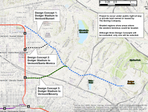 Three proposed routes for the Dugout Loop, a proposed underground railway between East Hollywood and Dodger Stadium, is seen in a map provided by the Boring Company.
