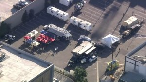 Several agencies were involved in a gang and drug trafficking raid in downtown Los Angeles on Aug. 8, 2018. (Credit: KTLA)