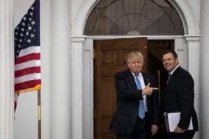 Donald Trump and Kris Kobach appear at Trump International Golf Club on Nov. 20, 2016 in Bedminster Township, New Jersey. (Credit: Drew Angerer/Getty Images)