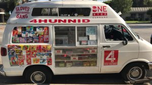 An ice cream truck that investigators believe was used to sell drugs is seen on Aug. 26, 2018. (Credit: Long Beach Police Department)