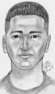 """A man known only as """"David"""" who was involved in the kidnapping of a businessman in San Gabriel is seen in a Los Angeles County Sheriff's Department composite sketch released by the FBI on Aug. 20, 2018."""