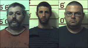 Left to right: Terry Wallace, Marc Measnikoff and Matthew Brubaker are shown in photos released by the learfield County District Attorney's Office on Aug. 20, 2018.