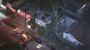 An image from Sky5 shows firefighters on the scene of a structure fire in Santa Ana on Aug. 17, 2018. (Credit: KTLA)
