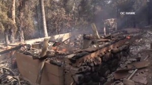 A structure was destroyed in the Holy Fire on Aug. 6, 2018. (Credit: OC Hawk)