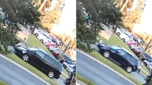 The two suspect vehicles involved in the abduction of a businessman in San Gabriel are seen in surveillance images released Aug. 20, 2018, by the FBI. The van on the left was believed to carry the victim and one suspect, while the SUV on the right carried two suspects.